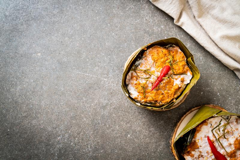 Steamed fish with curry paste. Thai food style stock image