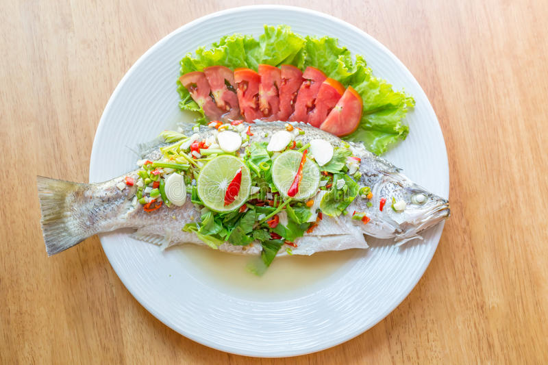 Steamed Fish in Lemon Sauce royalty free stock images