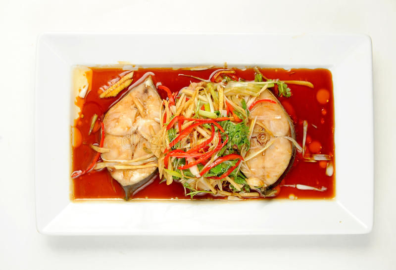 Steamed fish with soy sauce royalty free stock images