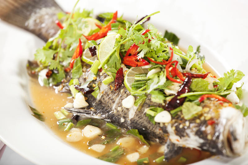 Steamed fish. Thai style spicy steamed sea bass fish with garlic, vegetable and chili stock photos
