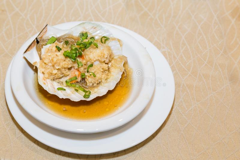 Steamed fresh scallop with clamp shell in Chinese meal royalty free stock photos