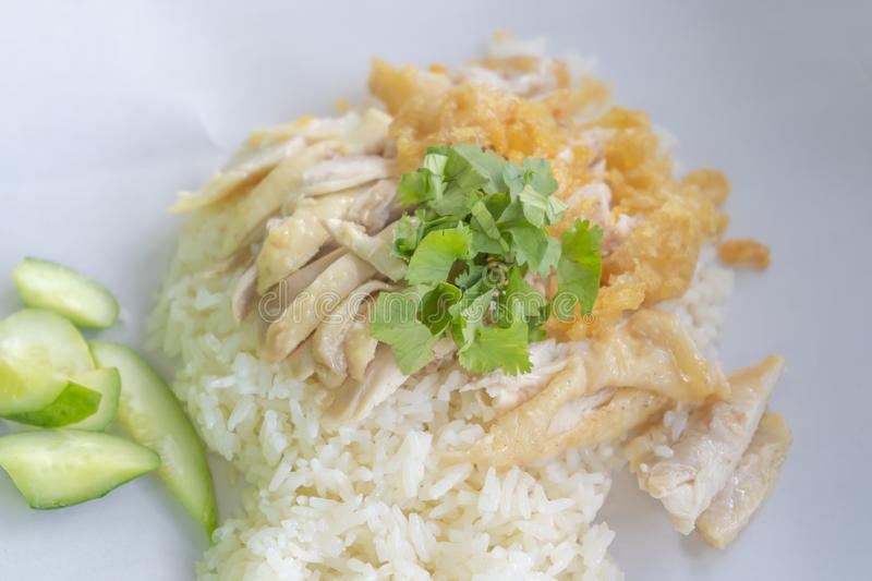 Steamed Hainanese chicken rice delicious Asian food stock photo