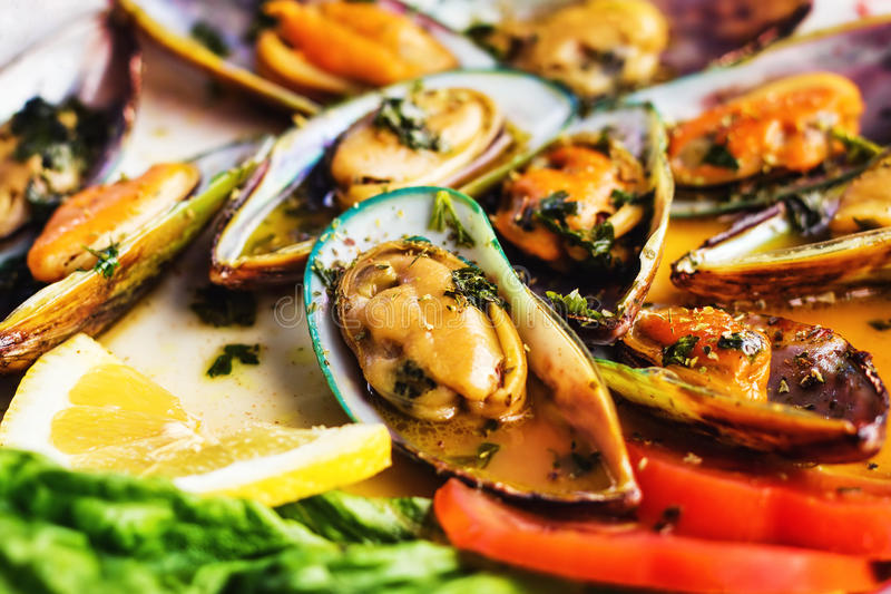 Steamed mussels on a plate royalty free stock image