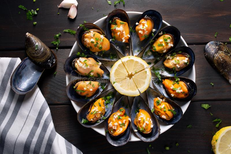 Cooked mussels recipe. Top view royalty free stock photography