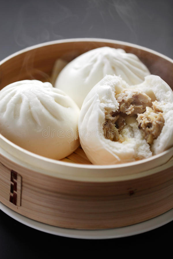 Steamed pork buns. One of dim sum, chinese food royalty free stock images