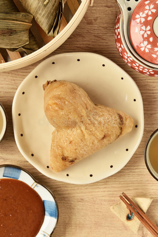 Steamed rice dumpling. Chinese tradition food - steamed rice dumpling royalty free stock photo