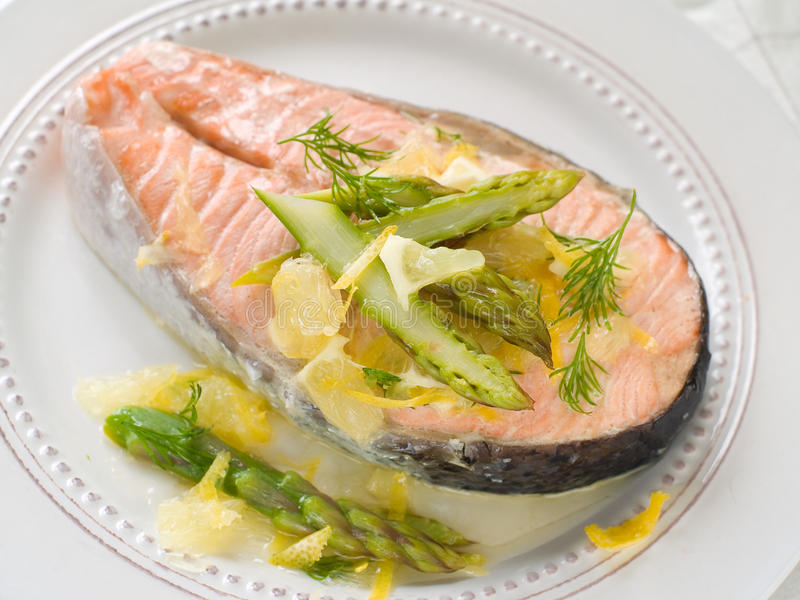 Steamed salmon stock images