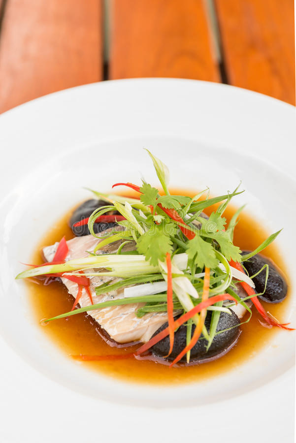 Steamed sea bass fillet royalty free stock photos