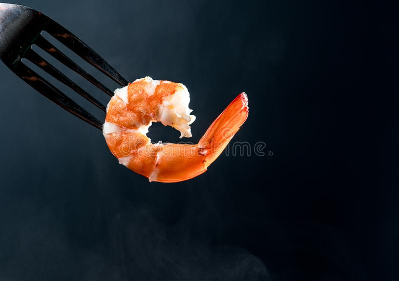 Steamed shrimp on fork isolated on dark background with copy space. Seafood buffet in restaurant concept. Use for seafood buffet p. Romotions advertising stock photo