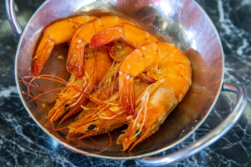 Steamed shrimp seafood on the table stock photography