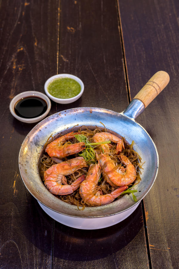 Steamed Shrimp with vermicelli stock image