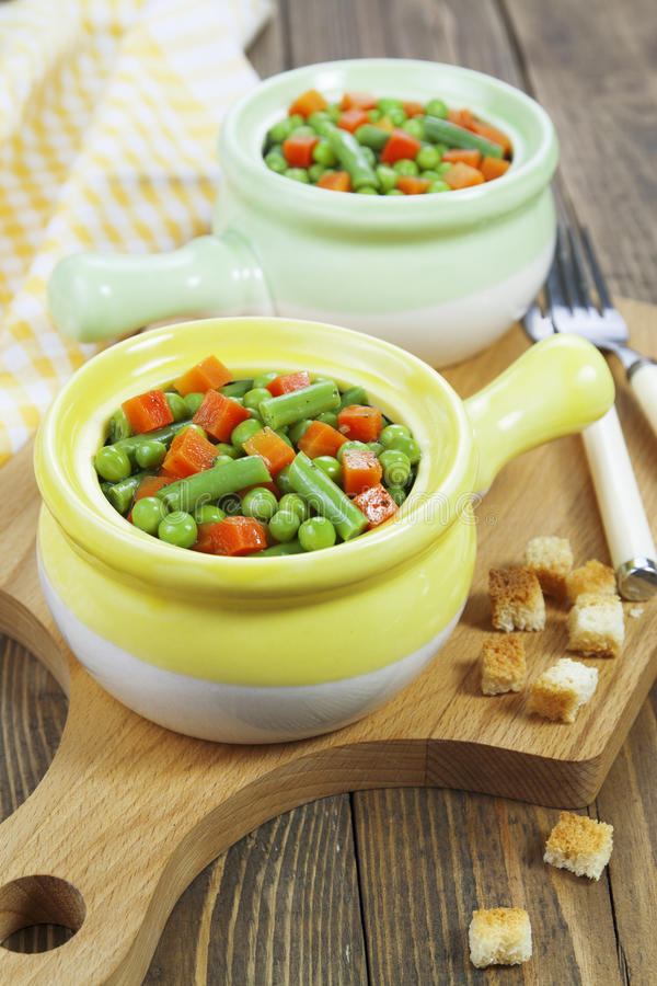 Steamed vegetables. Vegetarian dish royalty free stock photography