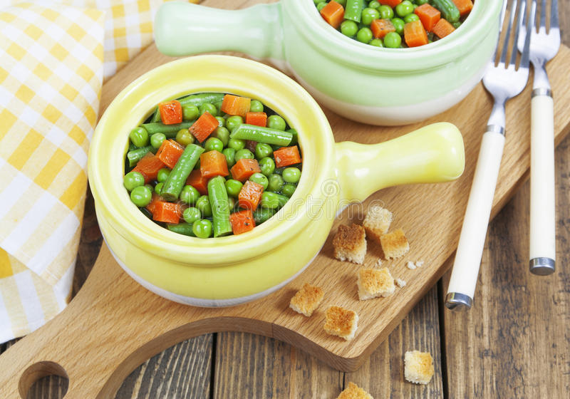 Steamed vegetables. Vegetarian dish royalty free stock photo
