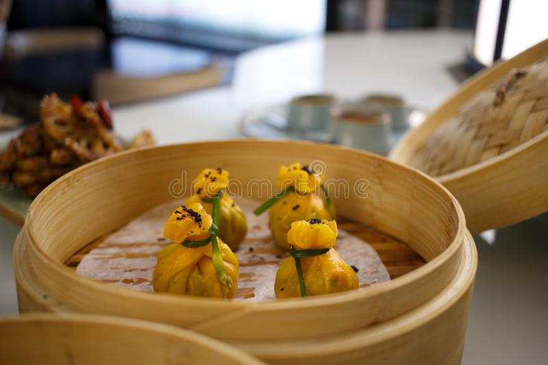 A steamer basket of dim sums royalty free stock image