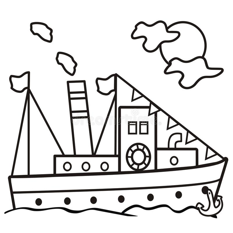 Free Steamer - Coloring Book Royalty Free Stock Photo - 40217915