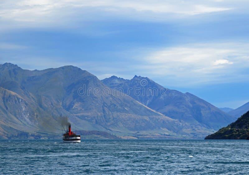 Steamer on Lake Wakatipu stock image