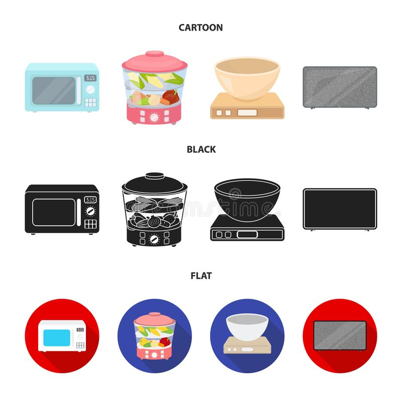 Steamer, microwave oven, scales, lcd tv.Household set collection icons in cartoon,black,flat style vector symbol stock. Illustration stock illustration