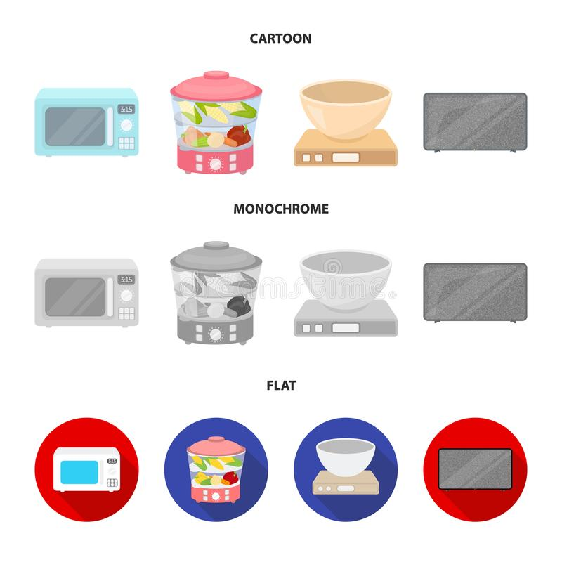 Steamer, microwave oven, scales, lcd tv.Household set collection icons in cartoon,flat,monochrome style vector symbol. Stock illustration stock illustration