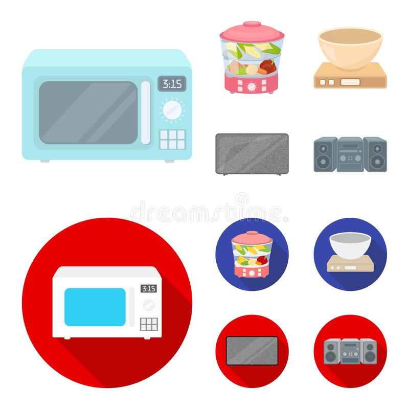 Steamer, microwave oven, scales, lcd tv.Household set collection icons in cartoon,flat style vector symbol stock. Illustration vector illustration