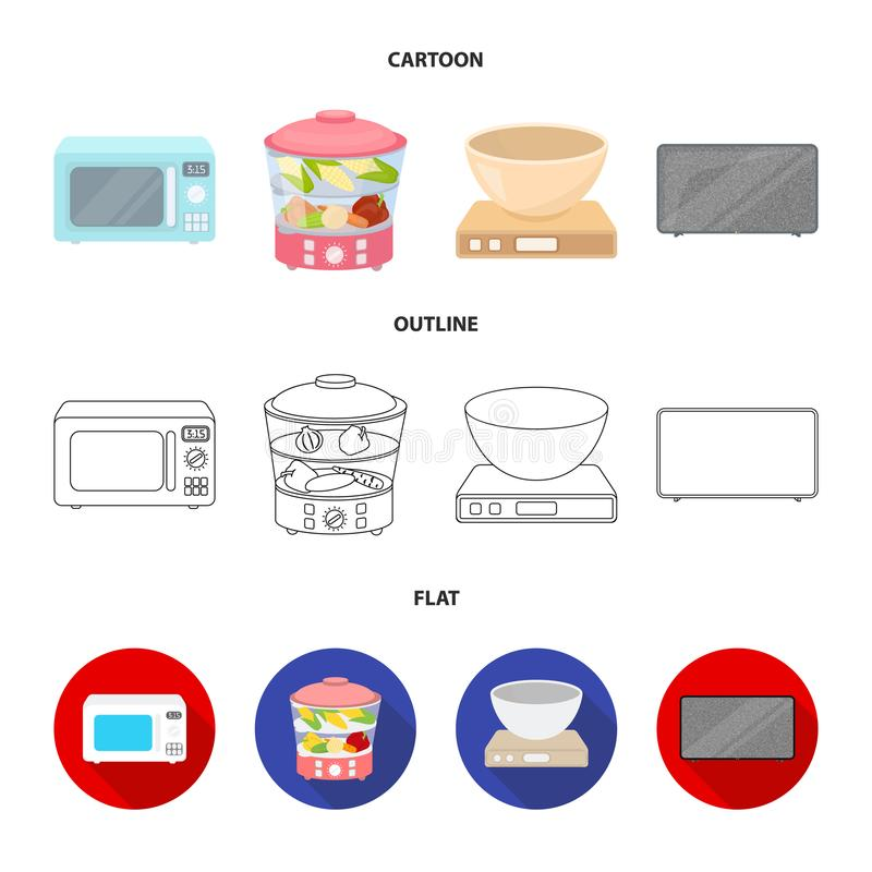 Steamer, microwave oven, scales, lcd tv.Household set collection icons in cartoon,outline,flat style vector symbol stock. Illustration stock illustration