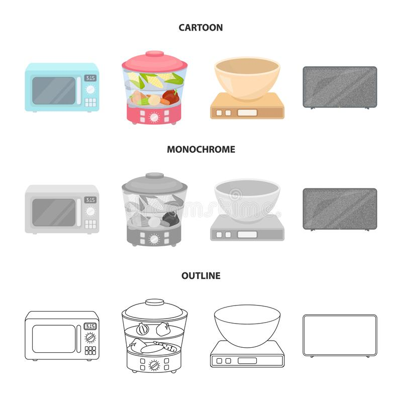 Steamer, microwave oven, scales, lcd tv.Household set collection icons in cartoon,outline,monochrome style vector symbol. Stock illustration royalty free illustration