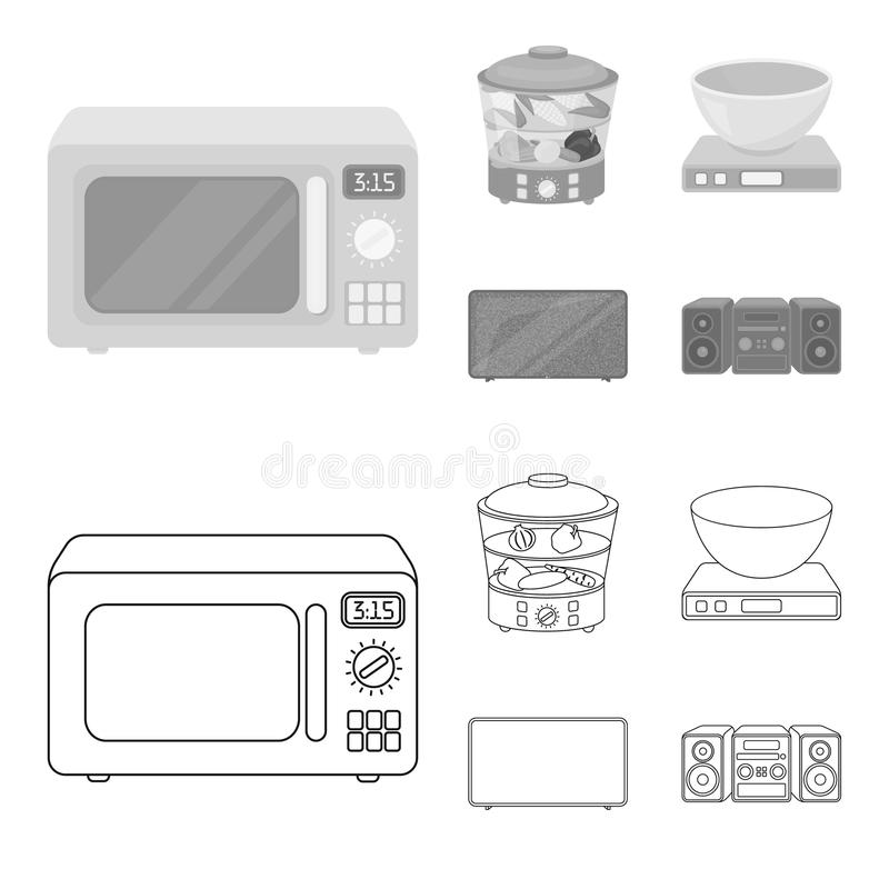 Steamer, microwave oven, scales, lcd tv.Household set collection icons in outline,monochrome style vector symbol stock. Illustration stock illustration