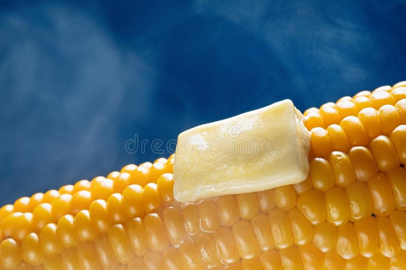 Steaming corncob with a piece of melted butter. On blue background. Horizontal royalty free stock photos