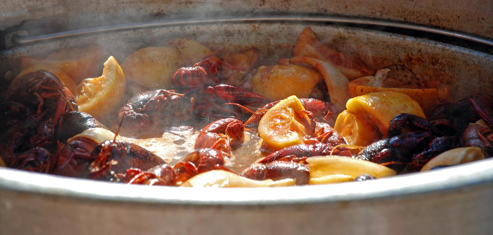 Steaming Crawfish. Boiling hot crawfish, lemon wedges and seasonings simmer at a low country seafood feast royalty free stock photography