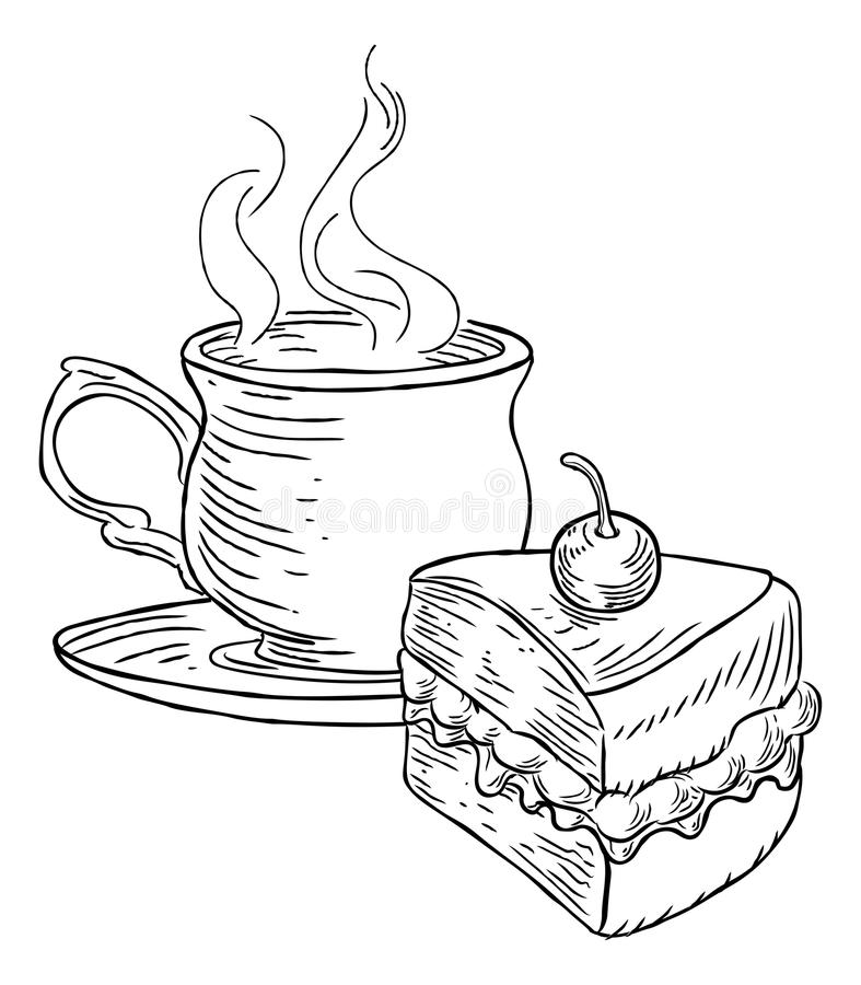 Cup of Tea and Cake Vintage Retro Style vector illustration