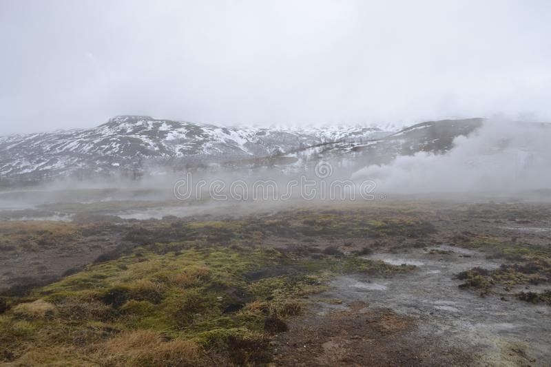 Steamy mountain in Iceland royalty free stock photography