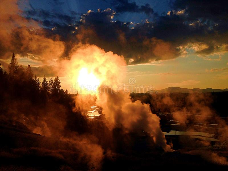 Steaming Ground at Mountain Sunset stock photos