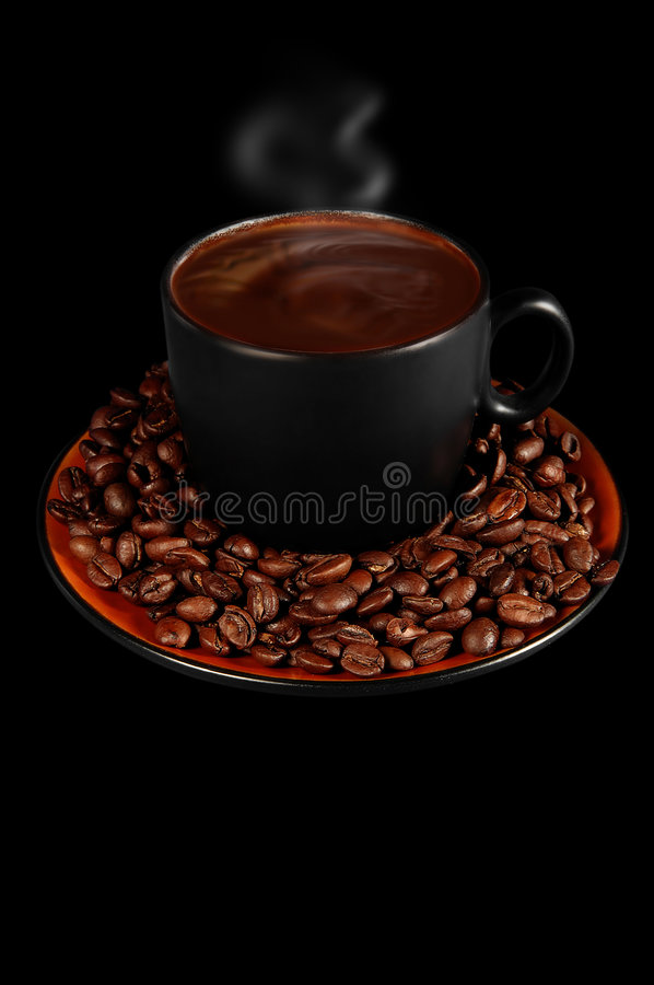 Steaming hot coffee stock images