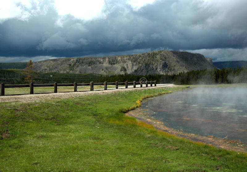 Steaming lake Yellowstone stock photos