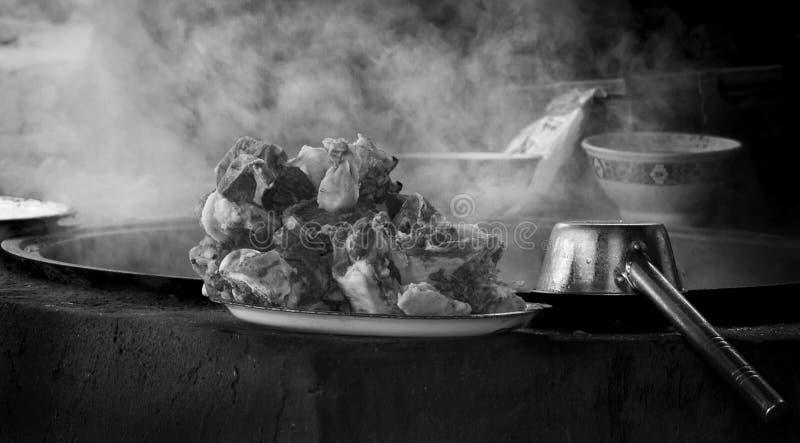 Steaming Lamb Dish, Kashgar, Livestock Market, China royalty free stock image