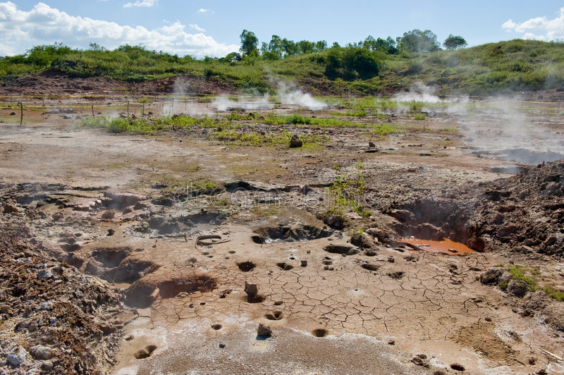 Steaming volcanic mud pots. Close up of steaming volcanic mud pots, Nicaragua stock photos