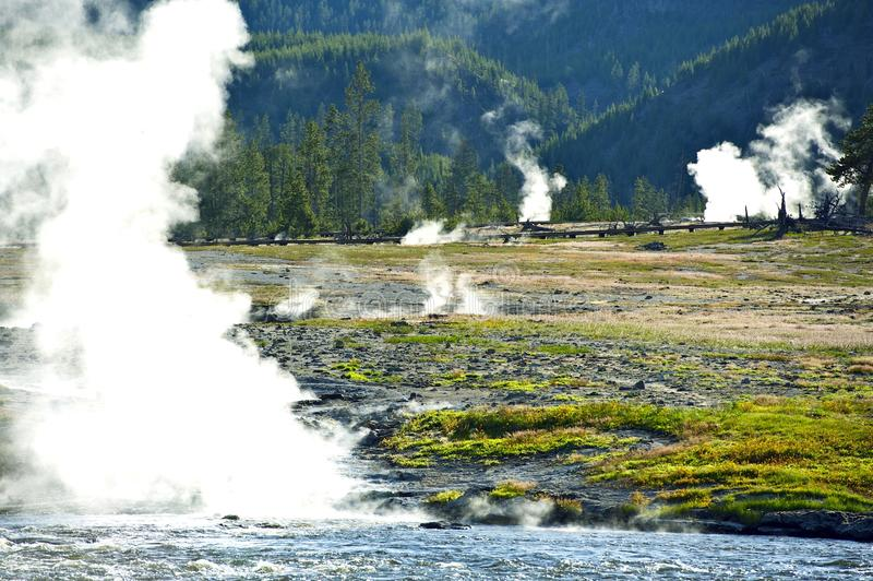 Steaming Yellowstone royalty free stock images