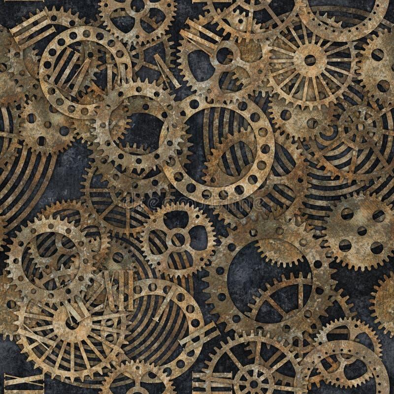 Steampunk与铁锈纹理无缝的样式的齿轮汇集 库存图片