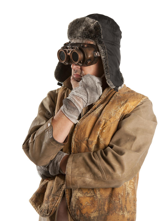 Steampunk人佩带的玻璃 图库摄影