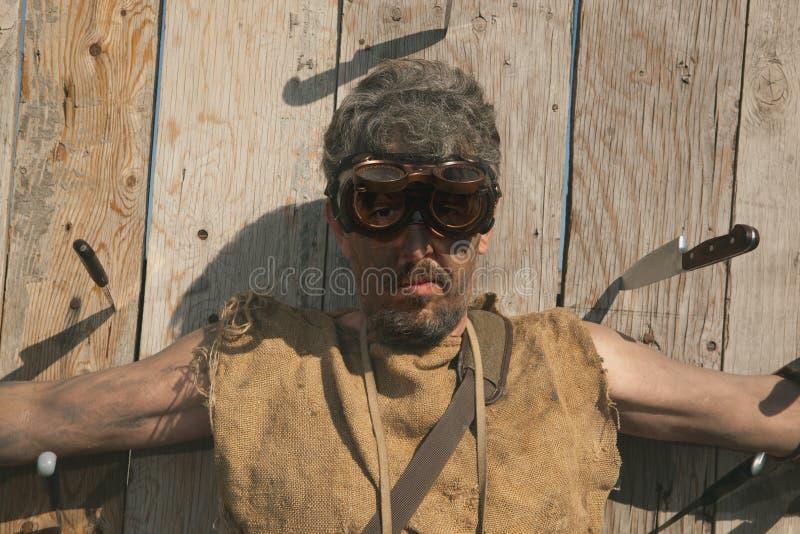 Steampunk人佩带的玻璃 免版税库存照片