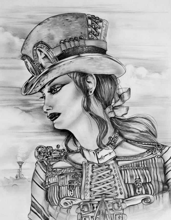 Steampunk妇女 向量例证