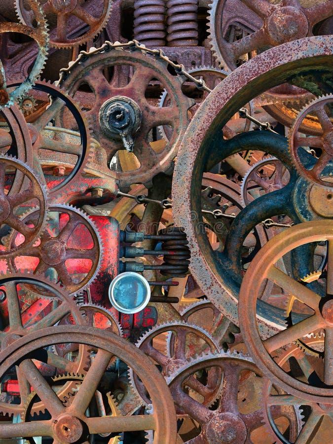 Steampunk工业机械墙纸背景 免版税库存照片