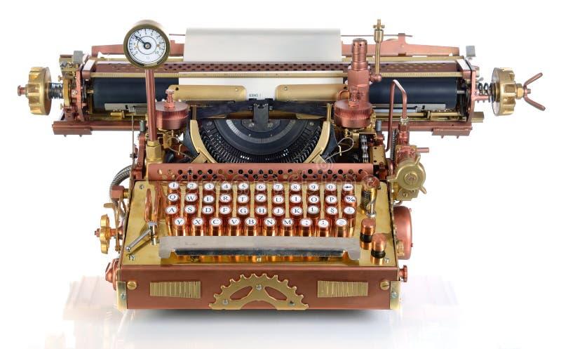 Steampunk打字机。 库存图片