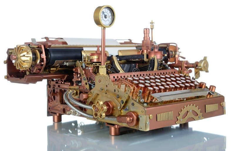 Steampunk打字机。 图库摄影