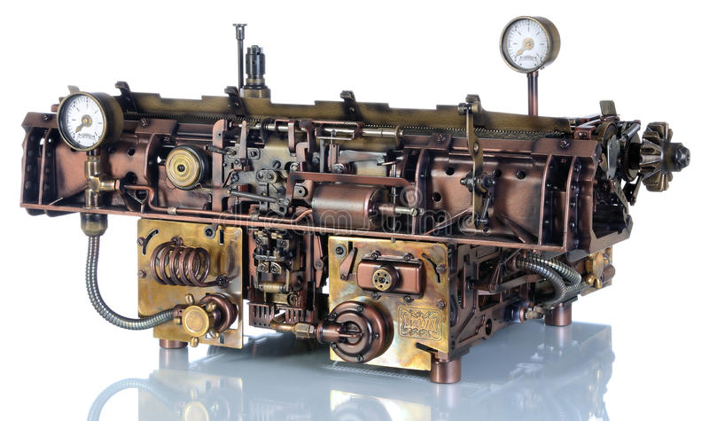 Steampunk打字机 免版税库存照片