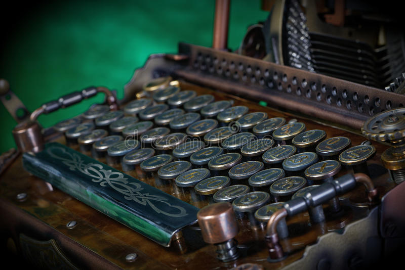 Steampunk打字机 库存照片