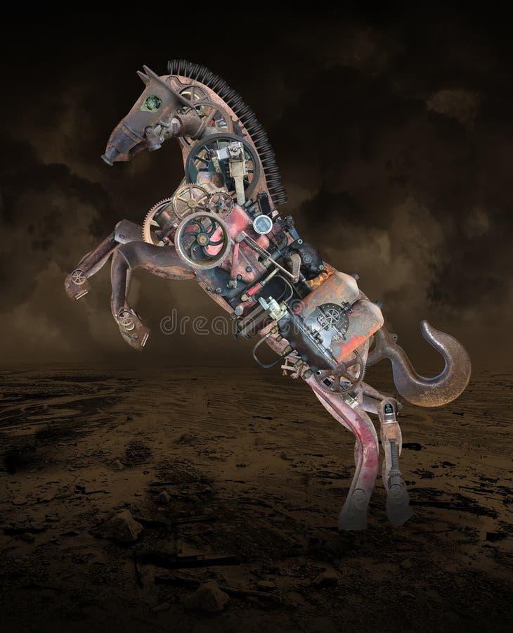 Steampunk技术机器,机械马 向量例证