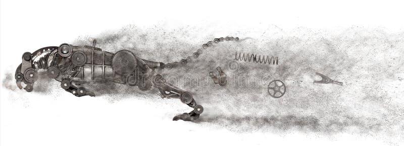 Steampunk掠食性动物 老自动备件汽车 免版税库存图片