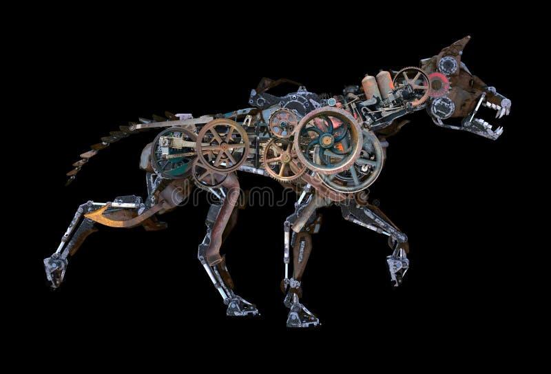 Steampunk机器人被隔绝的靠机械装置维持生命的人狗 库存图片