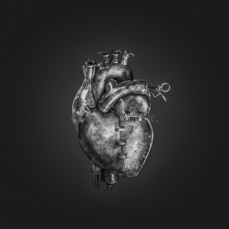 Steampunk机器心脏 皇族释放例证