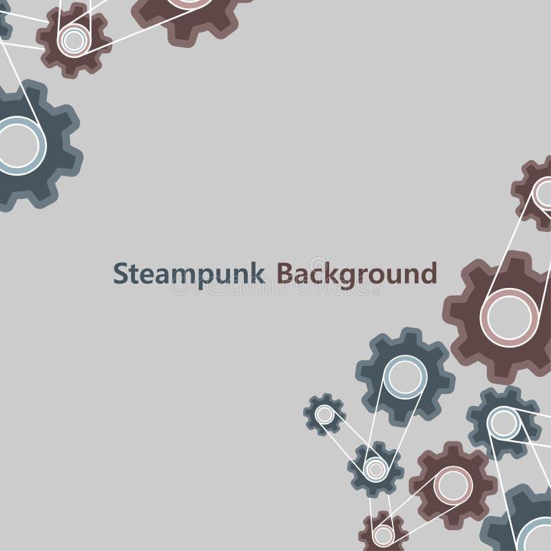 Steampunk背景葡萄酒样式图表 老金属嵌齿轮齿轮纹理机器标志传染媒介 减速火箭的框架设计装饰引擎 库存例证